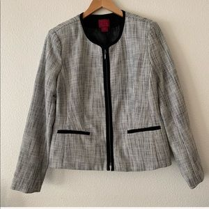 212 Collection Zip-Up Blazer w Padded Shoulders